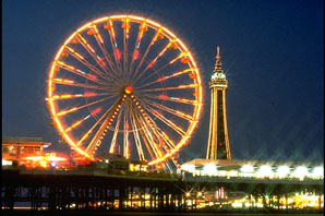 Blackpool Tower glowing brightly, part of the Blackpool Illuminations